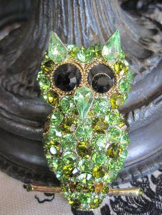 Rhinestone Owl Brooch Pendant by VintagObsessions on Etsy, $32.00