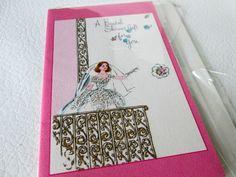 Vintage Bridal Shower Card, Wedding Card, Shower Gift Card, Retro Bride in Midcentury Wedding Gown, Unused Vintage Greeting Card