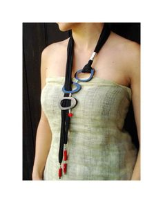 Long lariat necklace black horn necklace red por DenDesignjewels