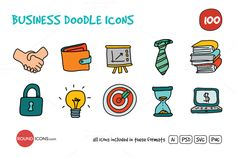 Check out Business Doodle Icons Set by roundicons.com on Creative Market