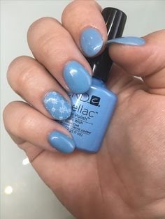 """CND Brisa Gel Enhancements with CND Shellac in """"Azure Wish""""- nails Created at Holly's Beauty"""