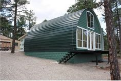 Build this Cabin in a Weekend for Under $5000.  While the tiny house movement is gaining traction all over the world, these mountain-house type cabins could definitely give traditional style homes a run for their money. These small metal arched buildings come in a variety of different sizes and colors – so just pick a kit to fit your budget.