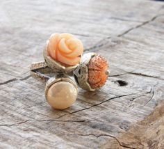 Sea Urchin Collection  The Pink Trio Ring by StaroftheEast on Etsy, $70.00
