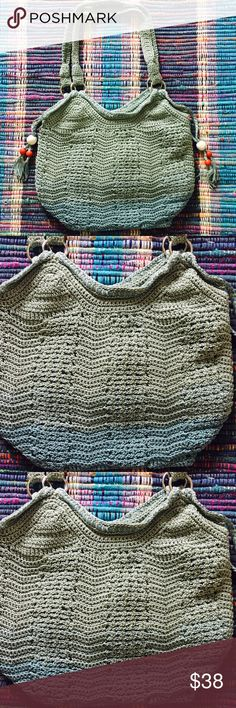 """The Sak Ombré Crochet Boho Bag The Sak pale green to pale teal bag. Has beaded tassel side accents with silver metal hoops. In EUC used twice. A few very very minor snags on the inside and two very very tiny pen marks in the inside (reference pictures above). Size approximately 17""""x14"""" strap drop is 15'. It's the perfect summer bag The Sak Bags Shoulder Bags"""