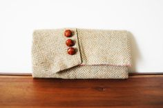 Beige Herringbone Wool Trifold Clutch Wallet by Singsthesparrow, $40.00