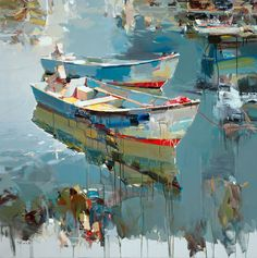 Artist Joseph Kote painting boats water reflections
