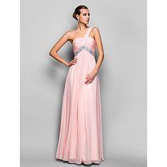 A-Line/Princess tek omuz kat uzunlukta şifon akşam / balo elbisesi – USD $ 89.99
