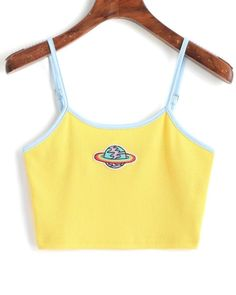 Planet Embroidered Patched Ringer Cami Top - Yellow S Cami Tops, Cute Tank Tops, Cute Shirts, Cami Crop Top, Crop Tank, Crop Top Outfits, Cute Casual Outfits, Summer Outfits, Casual Shirt