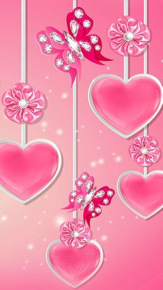 Pink Hearts Flowers and Butterflies Wallpaper