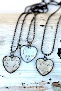 French Script Heart Necklaces