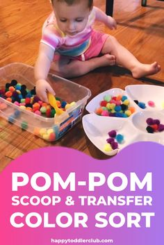 A quick & easy Dollar Tree sensory bin idea for toddlers! This toddler activity will develop color awareness and hand-eye coordination while keeping your little tot entertained! activities for toddlers 🌈POM-POM SCOOP & TRANSFER COLOR SORT Activities For 1 Year Olds, Indoor Activities For Toddlers, Toddler Learning Activities, Montessori Toddler, Montessori Activities, Toddler Play, Infant Activities, Color Sorting For Toddlers, Toddler Activities