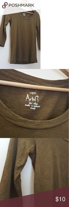 J. Crew Artist Tee 3/4 Sleeve J. Crew Artist Tee 3/4 Sleeve. Worn a few times, in excellent condition! Olive green. J. Crew Factory Tops