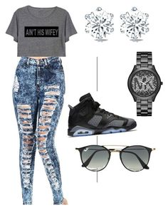 """""""How to wear Jordans"""" by suvareajefferson on Polyvore featuring Michael Kors and Ray-Ban"""