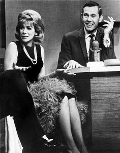 """JOAN RIVERS and Johnny Carson on """"The Tonight Show"""" Feb. 1965 Joan Alexandra Molinsky (born June 1933 - died September known by her stage name Joan Rivers, is an American actress, comedian, writer, producer and television host. Here's Johnny, Johnny Carson, Classic Hollywood, Old Hollywood, Radios, Tonight Show, Joan Rivers, Old Tv Shows, Celebs"""