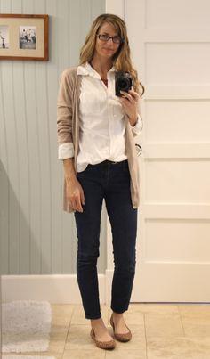 white top, neutral cardigan