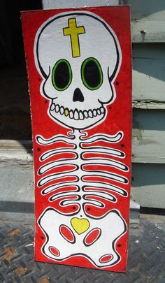 Skeleton torso and skull painting