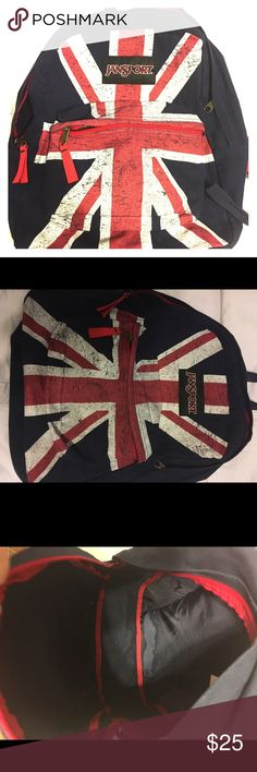JanSport Navy British Flag Print JanSport unisex union jack (British flag) pattern backpack. Great for travel, sports, and school. Basically for anything you need to hold things. Only been used twice, in perfect condition. Jansport Bags Backpacks