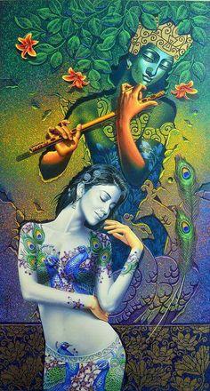 By Reena kapoor A Soulful Love of Radha Krishna Indian Paintings, Hindu Art, Painting, Art, Krishna Art, Peacock Art