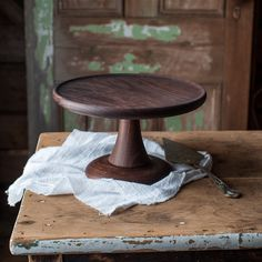 Walnut Cake Stand Turned Wood Cake Platter by CattailsWoodwork