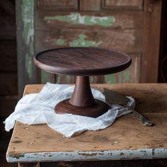Walnut Cake Stand, Turned Wood Cake Platter, Cake Pedestal, Wedding Cake Stand…