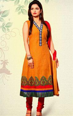 Picture of Stunning Deep Orange Color Party Wear Salwar Kameez