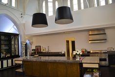 HEH Interiors - September 2013. Large black satin pendant drum lights