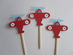 12 Airplane Cupcake Toppers Light Blue and Red by DKDeleKtables