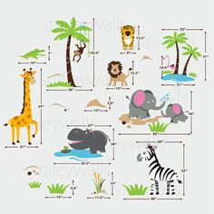 This HUGE Safari Animals decal set will add the final touch to the nursery or playroom. The whole visual in the sample picture with this composition option measures 120w x 84h. The decal comes in separate pieces so you can use your own composition to fit your space. [WHAT IS INCLUDED]