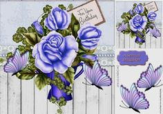 pretty blue butterflies with lilac roses 8x8 on Craftsuprint - View Now!