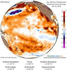 Heat from the largest Kelvin wave ever seen along the equator in the Pacific ocean has moved poleward, heating the subtropical and temperate Pacific waters.
