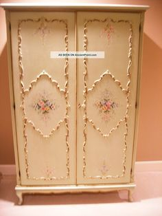 Antique French 2 Door Hand Painted 1920s Armoire Wardrobe Closet.