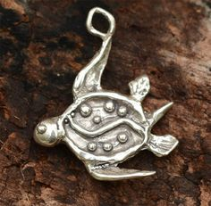 Artisan Sea Turtle Charm in Sterling Silver