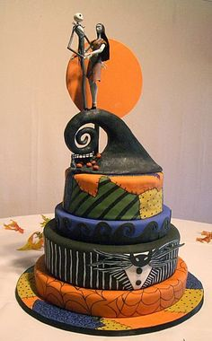 This Nightmare Before Christmas cake would be perfect for our anniversary, and add 'Til Death Do Us Part' on it somewhere