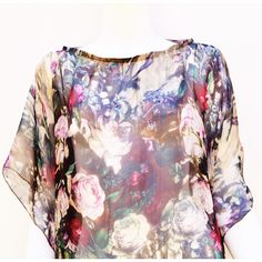 Silk Chiffon Top Beige Floral Digital Print ($75) ❤ liked on Polyvore featuring tops, cocktail tops, double layer top, print top, evening tops and patterned tops