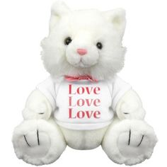 "Love Kitten | Adorable kitty stuffed animal with ""Love, Love, Love"" t-shirt."