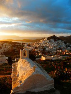 Sunset over Chora, Ios island