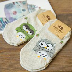1 пара/лот летний стиль милый прекрасный мультфильм сова носки для женщин девушки носок мода тапочки дамы серый лодыжки Meias купить на AliExpress