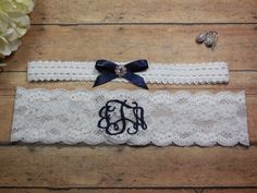 Monogrammed Garter, Blue Garter, Something Blue, Garter, Personalized Garter, Navy Blue Garter, Custom Garter, Wedding Garter, Brides Garter by BloomsandBlessings on Etsy