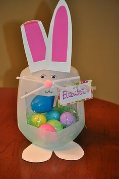 Easter basket made out of a milk jug.