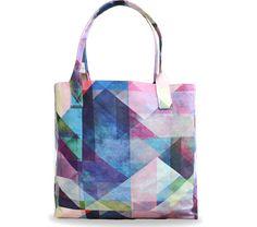 "Artist Designed Tote bag /Shopper Bag/Beach by Create&Case ""Colour Blocking"" stylish, unique, colourful vegan leather bag purple pink blue"