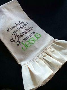 Embroidered Osnaburg Towel by SewNanaCreations on Etsy