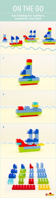 Ahoy! Calling all aspiring sailors... Your toddler can have fun building these different boats anytime, any place! For more ideas, visit: http://www.lego.com/da-dk/family/articles/on-the-go-around-the-world-in-8-big-ships-e868479190b64b21937a074abfede552