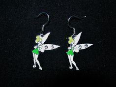 Cute Tinkerbell Silver Overlay Earrings by JudysEtsyStore on Etsy, $4.99