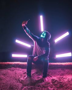 Smile for the camera .📸 And light paint help . Spooky month is coming up so I bought a light up mask and have been taking… Smoke Photography, Creative Photography, Portrait Photography, Smoke Wallpaper, Neon Wallpaper, Gas Mask Art, Masks Art, Joker Wallpapers, Hd Phone Wallpapers