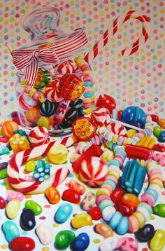 Kate Brinkworth: candy ~ oil on canvas still life hyper-realistic art Still Life Drawing, Still Life Art, Candy Drawing, Art Doodle, Sarah Graham, Candy Art, Arte Pop, High Art, Photorealism