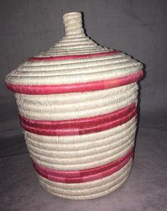 "lidded baskets / baskets with lid / lid basket/ Rwandese baskets / storage baskets / 12"" l 39""width/ africa woven decorative"
