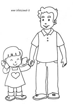 papa_figlia Family Coloring Pages, School Coloring Pages, Easy Coloring Pages, Coloring Sheets, Art Drawings For Kids, Drawing For Kids, Easy Drawings, My Little Pony Birthday Party, Family Theme