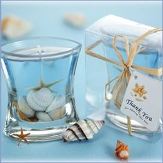 sea shell candle wedding favors