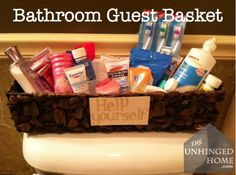 Bathroom Guest Basket. Good idea to keep in the bathroom closet.