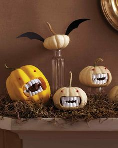 Plastic vampire teeth + mini pumpkins = big smiles this Halloween.                                                                                                                                                                                 More